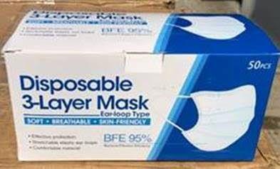 Orvosi szájmaszk, 3 rétegű, gumis, kék